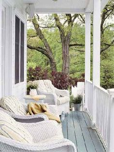Front porches and back patios are our favorite spots to relax in the warmer months. Make yours your favorite escape too with these best front porch ideas, including outdoor decorating ideas, patio ideas, and more. Patio Interior, Interior Exterior, Interior Design, Outdoor Spaces, Outdoor Living, Outdoor Decor, Wicker Porch Furniture, Wicker Chairs, Wooden Furniture