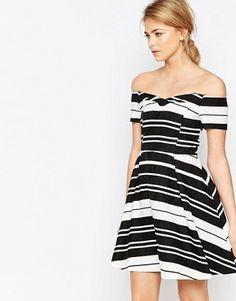 Oasis Textured Stripe Bardot Dress