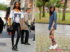 how to wear leggings with large shirts or denim tops and sneakers