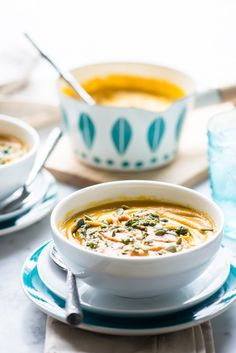 Roasted Carrot and Butternut Squash Soup with Walnut Pesto and Roasted Red Pepper Puree