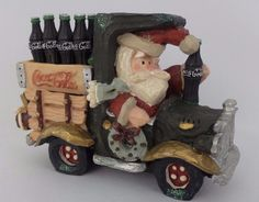 Coca Cola Brand Christmas Village Santa In Truck Figurine 1998 #CocaCola
