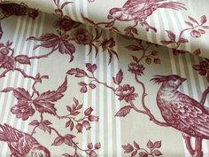 """Stoff Vögel - Französischer Stoff """" Colombine rot"""" - ein Designerstück von DiekleineStoffwerkstatt bei DaWanda"""