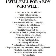 When i date someone, he needs to follow this list