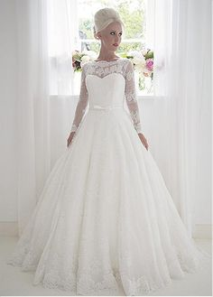 Charming Polka Dot Tulle & Satin Bateau Neckline A-Line Wedding Dresses With Lace Appliques