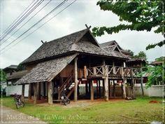 บ้านไทลื้อ หนองบัว น่าน Village Photography, Thai House, Bamboo House, Vernacular Architecture, Wooden House, Modern House Plans, Little Houses, Traditional House, My House