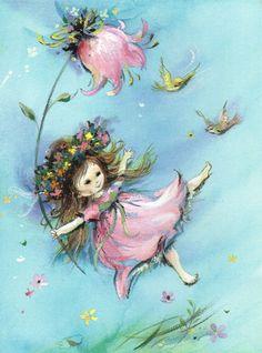 Vintage Greeting Card WINDSWEPT PRETTY GIRL IN PINK w/ BIRDS & BIG FLOWER UNused