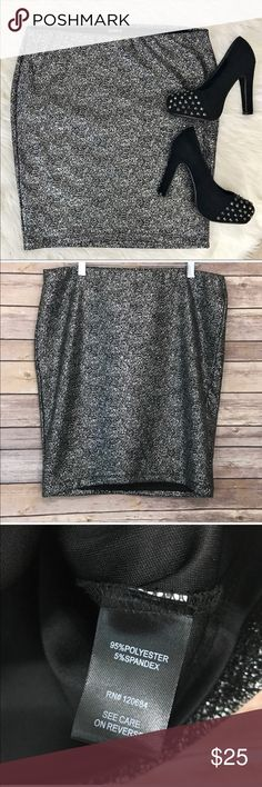 "Torrid Silver Glitter Sparkle Stretch Mini Skirt 0 •Details• Super Cute!  Silver Glitter look. Fully lined. Elastic Waist.  •Condition• EUC No flaws •Material• 95% polyester, 5% spandex. Stretchy •Color• Silver with a black background   All measurements are taken while item is laying flat and are approximate.  •Length• 20"" •Waist• 17"" unstretched  I consider ALL Offers! Don't be shy! No Trades torrid Skirts Mini"