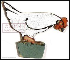 Vintage White Chicken = New Art Print of original litho Kitchen Farm Bird Hen #PierpontBayArchives #ContemporaryModernArtforyourHome
