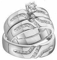 14k White Gold Trio Three Piece Wedding Ring Set heart Lab