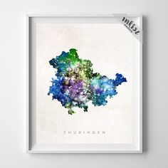 Thuringen Watercolor Map Print. Prices from $9.95. Available at www.InkistPrints.com #Thuringen #Poster
