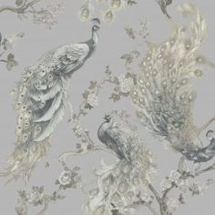 This Menali Peacock Wallpaper features detailed peacocks and a floral pattern in beige and grey on a pale grey background with a lightly textured glitter finish Peacock Wallpaper, Chinoiserie Wallpaper, Glitter Wallpaper, Paper Wallpaper, Damask Wallpaper, How To Hang Wallpaper, View Wallpaper, Textured Wallpaper, Grey And Beige