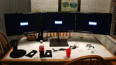 DIY Triple Monitor Stand - that's what I'm talking about!!! It would be my MacGuyver Command Center :)