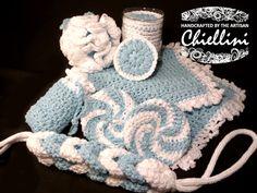 Crochet Spa Set  Face Cloths Back Scrubber by TheArtisanChiellini