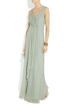 J Crew Evie draped silk-chiffon gown