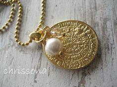 Kette Goldstück Perle von chrissona auf DaWanda.com