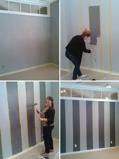 Before & After ~ Striped Wall Transformation ~ Boston Interiors Blog