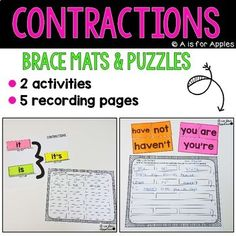 Practice contractions with these 2 fun activities! This pack includes brace mats, word cards, and puzzles for contractions. There are 2 activities and 5 different recording pages.