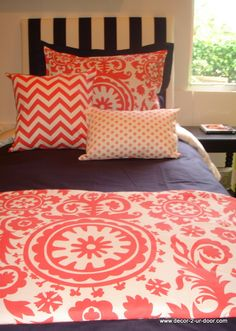 Coral and Navy Dorm Room Bedding for Girls