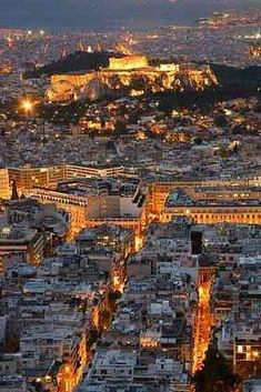 Athens by night view Athens By Night, My Athens, Santorini, Mykonos Greece, Crete Greece, Greece Tours, Greece Travel, Paros, Parthenon Athens