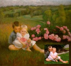 Moment in Time, pastel art by Nancy Lee Moran, 24 x 25 inches, Commission of 2000, shown with reference photo taken by the artist
