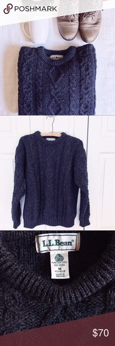 L.L. Bean 100% Wool Irish Fisherman Bulky Sweater Beautiful knit design, bulky fit, super cozy! 100% pure wool, made in Ireland. Perfect for staying warm in the upcoming months! L.L. Bean Sweaters Crew & Scoop Necks
