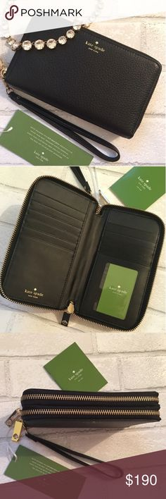"""New! Kate Spade Double Zipper Wallet With Wristlet {5⭐️} Brand New!! Kate Spade Double Zipper Travel Wallet With Detachable Wristlet. 12 Credit Card Slots. 4 Billfold Slots. 1 Zip Coin Pocket. Detachable Wristlet. Material Safiano Leather Pebbled. Size 7.5""""W x 5""""H x 2""""D Wristlet 9"""" long. This is one of the most coveted Kate Spade Wallets!! Price is Firm. Bundle and Save Kate Spade Bags Wallets"""