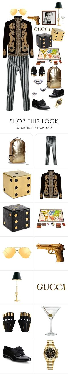 """""""The World is Not Enough for the Man with the Golden Gun"""" by marcusv ❤ liked on Polyvore featuring Haider Ackermann, L'Objet, Alexander McQueen, Hasbro, Linda Farrow, James Bond 007, Seletti, Flos, Gucci and Majesty Black"""