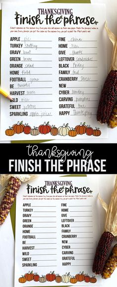 We love to play games around the Thanksgiving table. This Thanksgiving Finish the Phrase Printable is a big hit at our house. #thanksgiving #thanksgivinggames #thanksgivingprintable #thanksgivingprintablegames Diy And Crafts Sewing, Diy Crafts For Kids, Turkey Stuffing, Family Feud, Thanksgiving Games, Craft Party, Halloween Kids, Holiday Fun, Free Printables