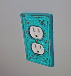 turquoise decorative electrical outlet plate plug in cover fleur de lis bright - Decorative Outlet Covers
