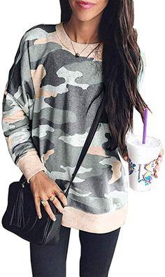 6dbf02c668 BTFBM Women Camouflage Print Long Sleeve Crew Neck Loose Fit Casual  Sweatshirt Pullover Tops Shirts (