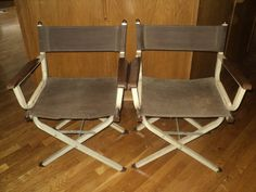 1 Vtg Mid Century Modern Director's Folding Metal Chairs Canvas Camping Patio   eBay