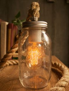 Mason jar rope lamp? Swoon!