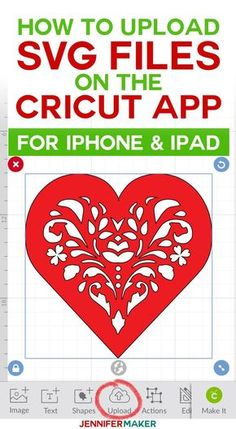 How to Upload SVG Files to Cricut Design Space App on iPhone/iPad - Jennifer Maker Cricut Apps, Free Fonts For Cricut, Cricut Fonts, Svg Files For Cricut, Cricut Air 2, Cricut Help, Cricut Monogram, Cricut Tutorials, Cricut Ideas