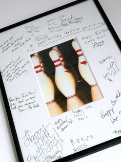 Bowling Party Ideas - Signature frame with bowling picture