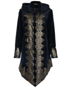 ROMWE Baroque Embroidered Black Velvet Coat