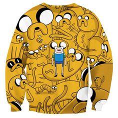 Adventure Time Jake and Finn All Over Print Crew Neck Pullover Sweater $26.99 #sweatshirts #jake #finn #adventuretime #fashion #geek
