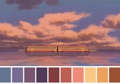 Spirited Away (2001) Dir. Hayao Miyazaki - dont know the movie, but there are some nice choices in colors here.