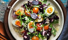 Jeremy Lee's beetroot, soft boiled egg and horseradish. Photograph: Jean Cazals for Observer Food Monthly