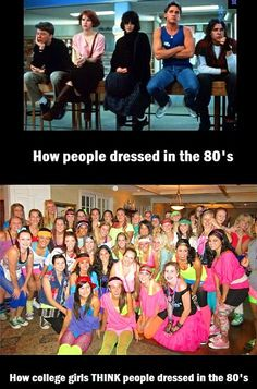 What current college students thinks is 80s fashion