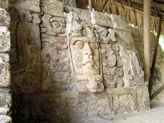 'Kinich Ahau Mask' On Bottom Right Hand Side Of The 'Temple Of The Masks'. Kohunlich Archaeological Ruins. On The Yucat�n Peninsula, Southern Quintana Roo, M�xico.Travel And Tour Pictures, Photos, Information, Images, & Reviews.