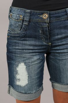 Knee Length} Denim Shorts by H & M | B A B Y G I R L | Pinterest