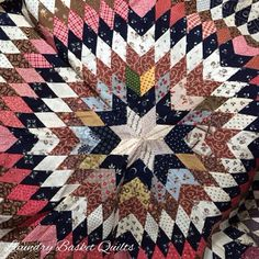 """Laundry Basket Quilt of the Day - """"Morning Star"""" antique quilt from my collection."""