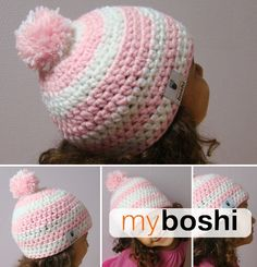 Perfect in pink and white! myboshi pom-poms for little girls.