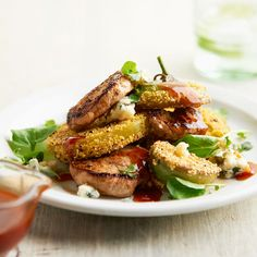 Fried green tomatoes are the perfect addition to any summer plate! More of our best summer salad recipes here: http://www.bhg.com/recipes/salads/ideas/salad-recipes-ideas/?socsrc=bhgpin061814pansearedporkfriedgreentomatoes&page=13