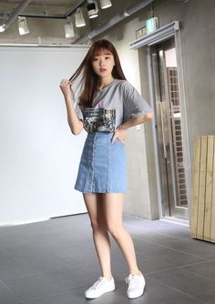 10's trendy style maker en.66girls.com! Off-Center Buttoned Front Skirt (DGHU) #66girls #kstyle #kfashion #koreanfashion #girlsfashion #teenagegirls #fashionablegirls #dailyoutfit #trendylook #globalshopping
