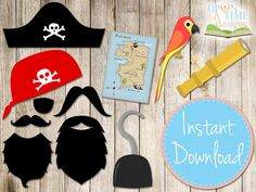 PIRATE Photobooth Props printable - INSTANT DOWNLOAD - Moustache, Beards, Hook, Map, Hat, Parrot, Bandana, Telescope