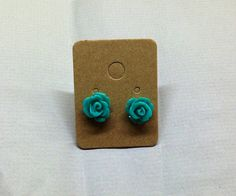 Teal Resin Rose Cabochons 10mm Earrings by RatDogInk on Etsy, $7.00