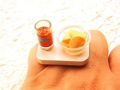 Potato Chips Ice Tea Kawaii Miniature Food Ring by SouZouCreations, $10.00