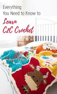 Everything You Need to Know to Learn C2C Crochet , includes videos, instructions and pictorials.   www.1dogwoof.com