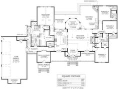 The one-story Ranch-like floor plan has 3585 square feet of fully conditioned living space and includes 4 bedrooms plus an office/flex room with its own porch and vaulted ceilings in the Great Room and master bedroom. #houseplan #GreatRoom Modern Farmhouse Plans, Farmhouse Design, Country Farmhouse, Farmhouse Homes, Madden Home Design, Farmhouse Flooring, Jack And Jill Bathroom, Beautiful Farm, Flex Room